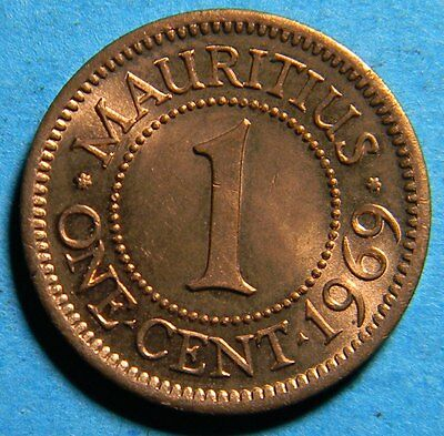 Britsh Africa Mauritius 1969 one cent  (Coin lot # B-0172)