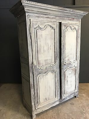 Large French Painted Normandy Armoire  Carved Doors Wardrobe Cupboard