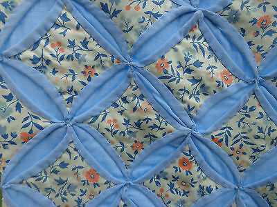 "Beautiful Handmade Antique Sky Blue Pinwheel & Calico Flowers Quilt 65"" X 92"""