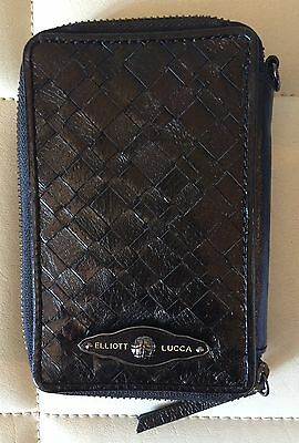 Elliott Lucca Black Leather Zip Around Credit Card Holder Phone Case