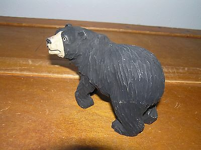 Estate Carved Wood Wooden Black Bear Figurine – 5 x 3.25 x 1.75 inches –