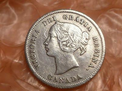 Canada 1874 H Plain 4 Silver 5 Cents Extremely Fine Key Date #1