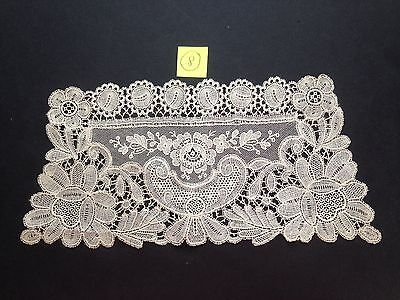 Antique Ecru Finely Hand Stitched Brussels Lace Cuffs Set of 2