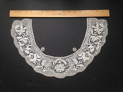 Antique Ivory Finely Hand Stitched Victorian Needle Lace Collar