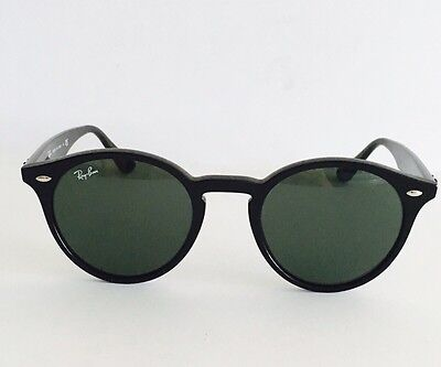 Ray Ban Round Sunglasses Black Frame, Classic Green Lens RB2180 601/71, 49mm