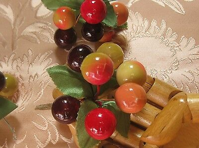 Vintage Cute Millinery Cherry Corsage Lot/3 Clusters/hat Decoration/nos
