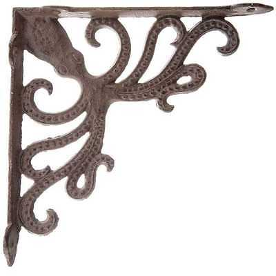 SET OF TWO Octopus Cast Iron Wall Shelf Brackets  Nautical Beach House Decor
