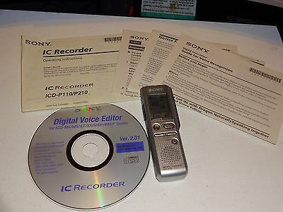 CES SONY ICD-P110 VOICE RECORDER DIGITAL w/Manual & PC Software