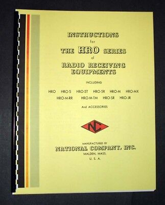 National HRO-5 HRO-5T HRO-5R HRO HRO-SR Receiver Manual