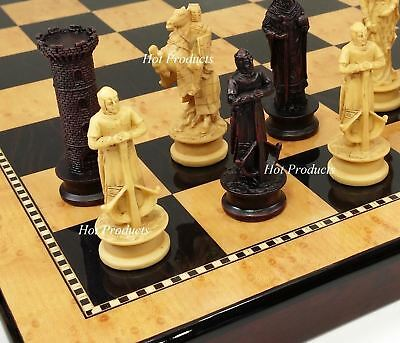 """Medieval Times Crusades KING RICHARD Chess Set Antique Color W/ 18"""" Gloss Board"""