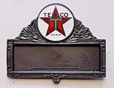 rare 1920's TEXACO Gasoline attendant employee ENAMELED name badge pinback +