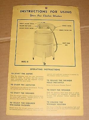 Old Electric Washer Hang Tag Instructions Holland-Rieger Model 92