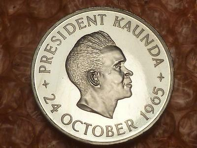Zambia Kaunda 1st Year Independence 5 Shillings 1965 Proof With Case