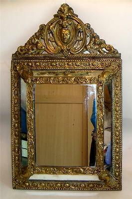 ANTIQUE FRENCH CUSHION MIRROR BRASS REPOUSSE NAPOLEON III c 1850-60