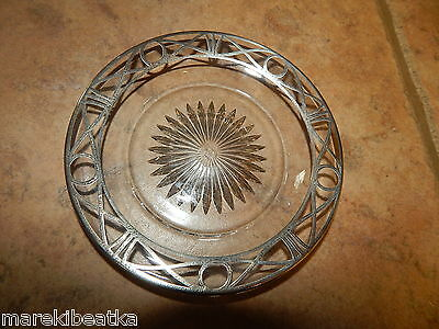 Antique Art Deco Glass Class & Sterling Overlay Plate