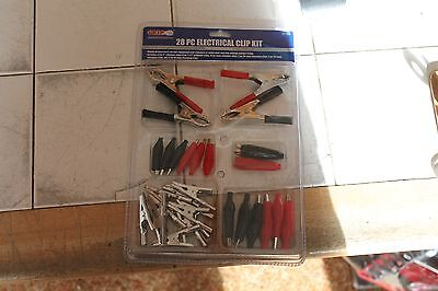 28 pc. Alligator Clip Test Lead Assortment Electrical Batery Clamp Connector Kit