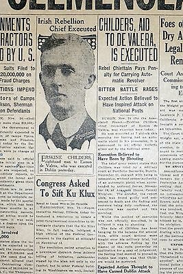 1922 Newspaper Front Page - Irish Rebellion Chief Erskine Childers Executed