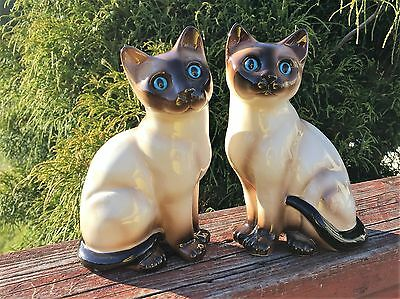 Vintage Set ENESCO Seal Point Siamese Cats Blue Eyes - Beautiful!