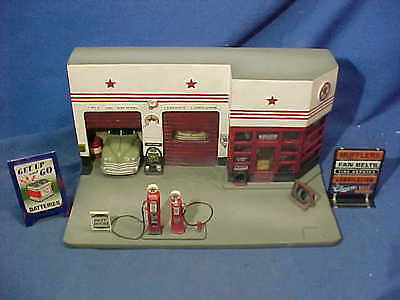 O Scale 1940 TEXACO Star GAS STATION Model RR BUILDING Cast Resin Nice Details