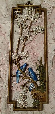 Vintage HOMECO Hollywood Regency wall art hanging birds flowers cherry blossoms