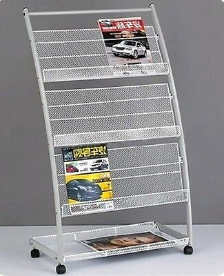 1X New White Mobile Book Magazine Display Rack 3-layer