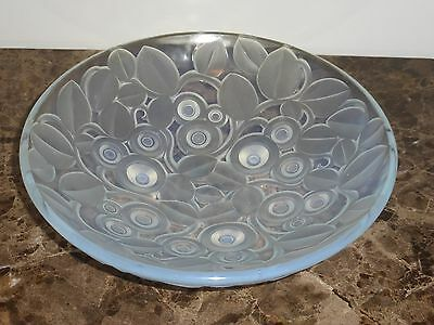 """Andre Hunebelle French Art Deco Floral Glass Bowl 11 5/8"""""""