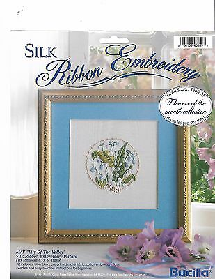 "Bucilla Silk Ribbon Embroidery Kit Flowers of the Month ""MAY Lily Of The Valley"""