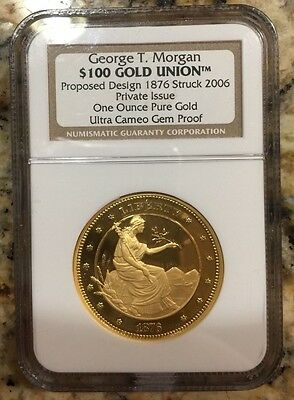 George T. Morgan $100 Gold Union Proposed Design 1876 Struck 2006 Uc Gem Proof