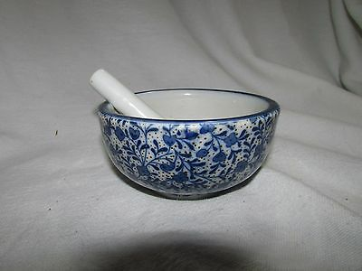 Vintage Ceramic Porcelain White & Blue Speckled Pestle & Mortar Dish, Apothecary