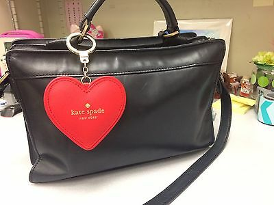 Kate Spade Ny Red Doily Heart Keychain, Key Fob, Bag Charm With Pouch