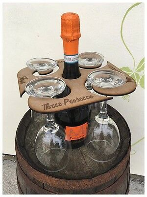 Prosecco Wooden Wine Glass / Bottle Holder For 4 Glasses