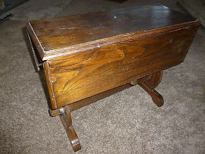 Antique Vintage  Folding  Oak Wooden Coffee Table Games Cards Table Side Table