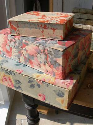 Stack 3 antique French fabric covered boudoir boxes 1920s - Art Deco flowers