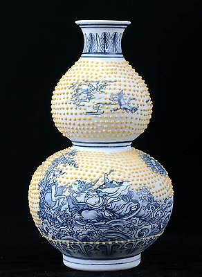 Chinese Porcelain Handmade the Eight Immortals vase W Qing Dynasty Qianlong Mark