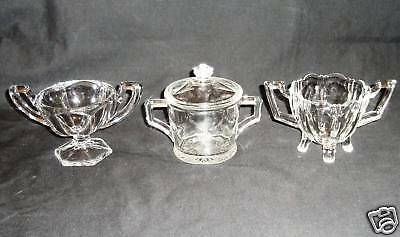 3 Beautiful Deco Glass Sugar Bowls