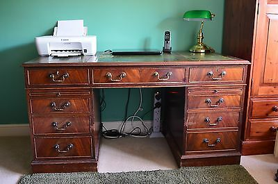 Antique Style Mahogany Veneered Twin Pedestal Desk with green leather inlay