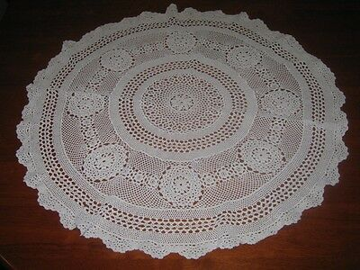 Vintage Crocheted Lace Tablecloth ~ Cotton ~ Beige ~ Round