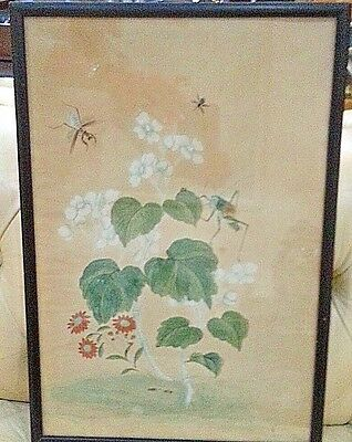Lovely Antique Chinese Watercolor Floral Scene with Insects Ladybugs Grasshopper