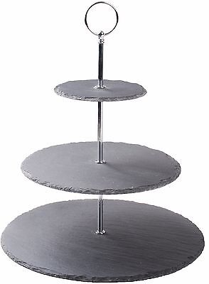 3 Tier Slate Tea Cup Cake Stand with Silver Center Height 34cm Tall