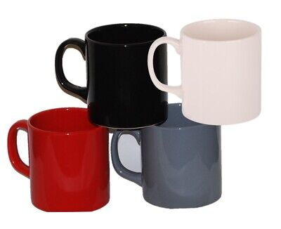 Set of 6 Large Coffee Cocoa Mugs in Black Red or Grey