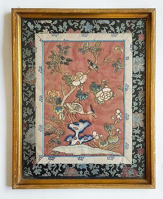 Antique CHINESE FRAMED SILK EMBROIDERY c1900