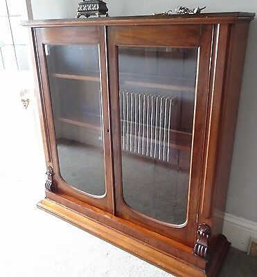 antique mahogany glass doors cabinet bookcase dresser top Cash on Collection prf