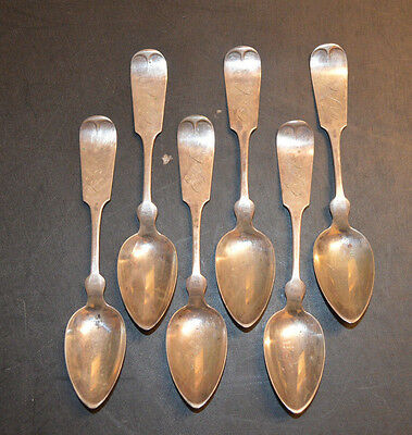 Sterling Silver Isaac Garrison Fiddle Teaspoons Set of 6 Spoons 1850-60! Look!