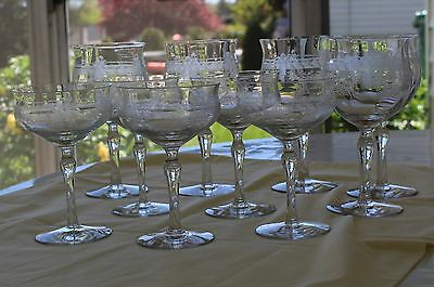 Antique ca. 1890 Victorian Set Etched Crystal Stemware, 10 Pieces
