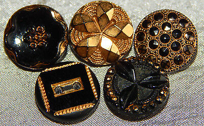 Lot of Antique Vintage Black Glass Buttons Gold Luster #804-A