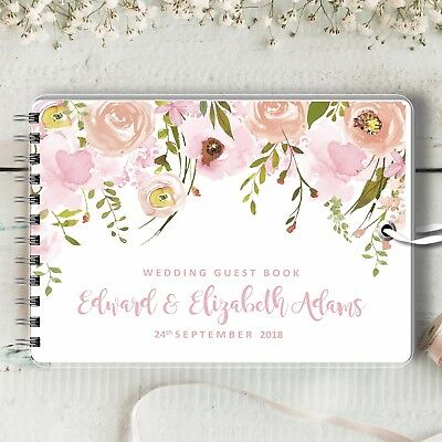 Personalised Wedding Guest Book, Trailing Pinks, Blank Message Book, Photo Album