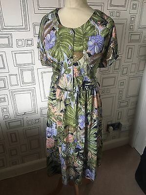 Vintage 80's Green Tropical Floral Summer Batwing Tea Dress Uk 16 Large