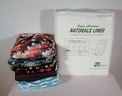 Adjustable Reusable Lot Baby Washable Cloth Diaper Nappies  New 5pcs+ 5 inserts