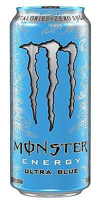 Monster Energy Drink Beverage Soda Ultra Blue 16 Ounce Pack of 24 Free Shipping