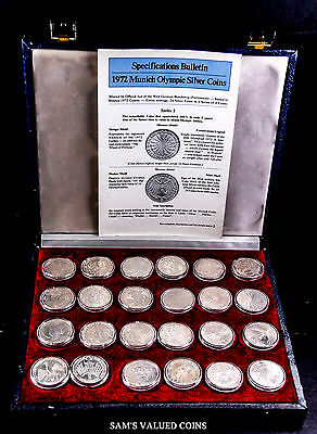1972 Munich, Germany - Olympics 24 Silver Commemorative Coin Collection in Box